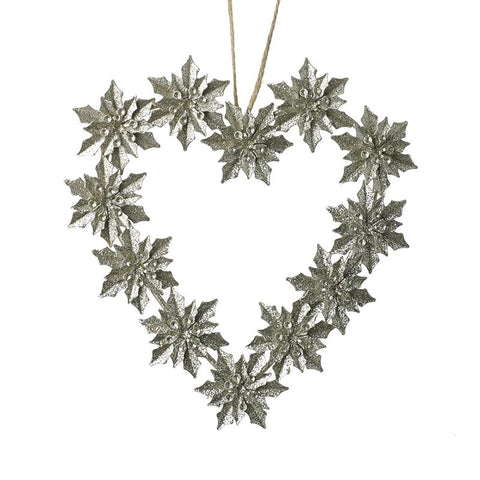 Silver Leaf Heart Wreath