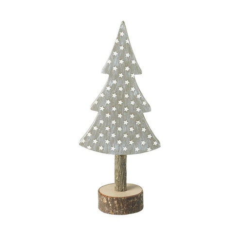 Tree With Silver Stars On Wooden Log