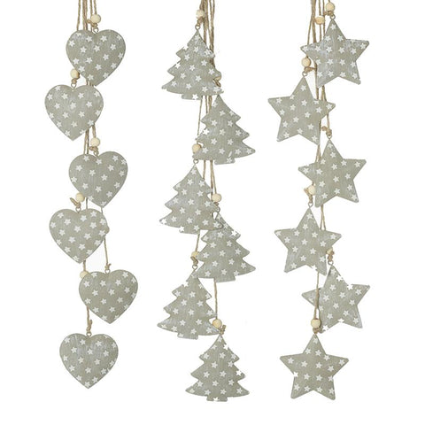 Spotty Heart Tree & Star Garland Mix