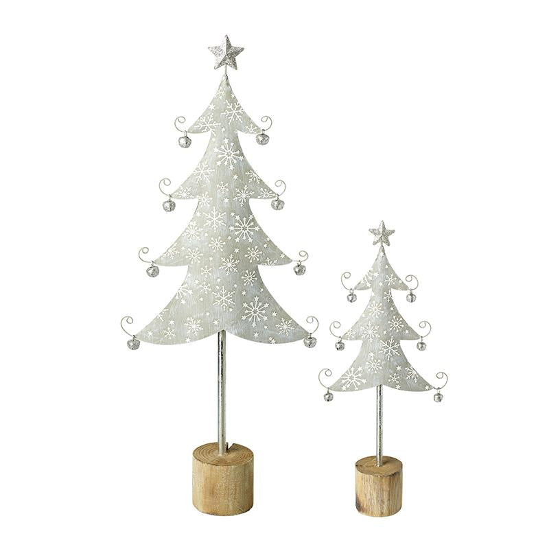 Set Of 2 Silver Metal Trees