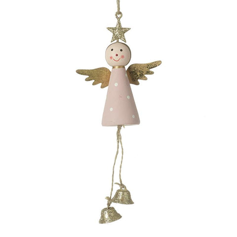 Wooden Angel With Bell Feet