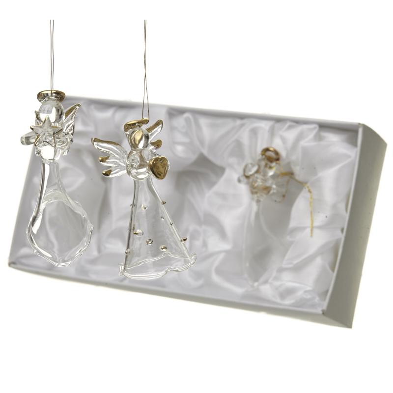 Boxed Set 3 Hanging Glass Angels