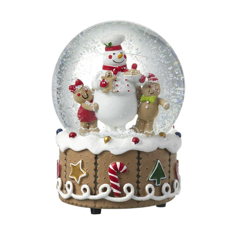 Snowman And Ginger Bread Men Snow Globe