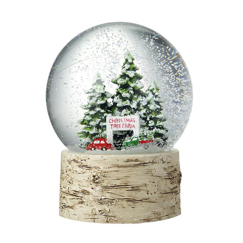 Christmas Tree Farm Snowglobe Birch Base