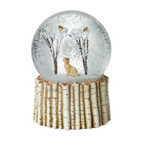 Dog & Birds & Trees Snowglobe Birch Base