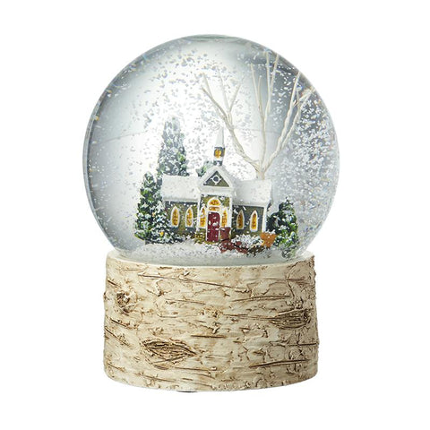 Colourful House Snowglobe Birch Base