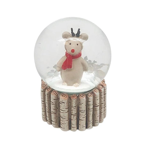 Reindeer In Red Scarf Snowglobe