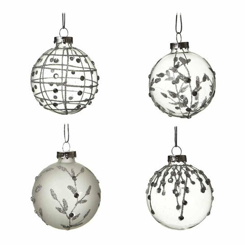 Set Of 4 Glass Clear & Frosted Baubles