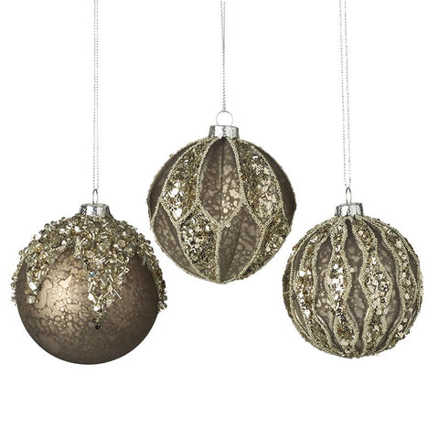 Pewter Glass Bauble Set