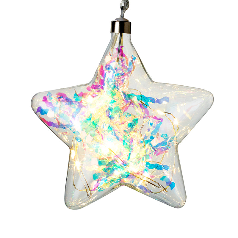 Small Sparkle Light up Glass Star