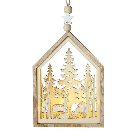 Deer & Tree Cut Out Scene Hanging Dec