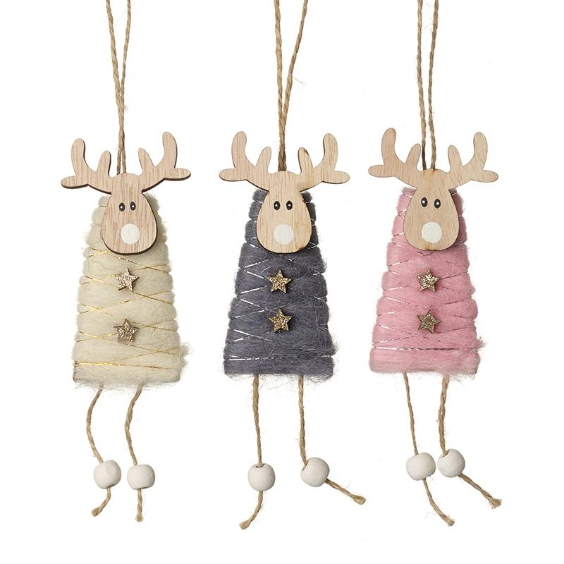 Wooden Hanging Reindeer Mix