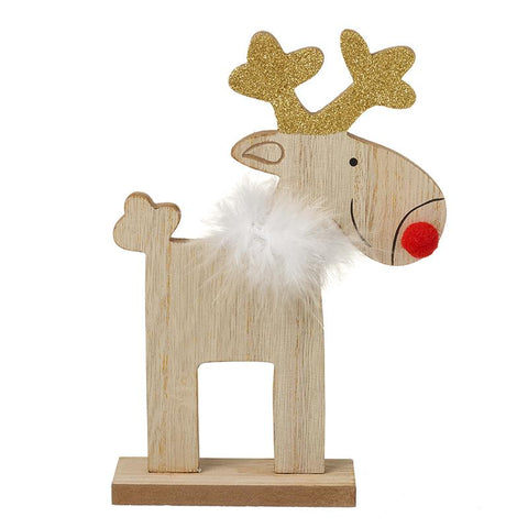Wooden Reindeer With Fluffy Scraf