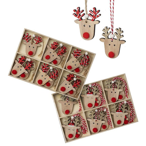 Boxed Wooden Reindeer Hanging Set