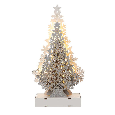 Wood Three Level Tree Light Up
