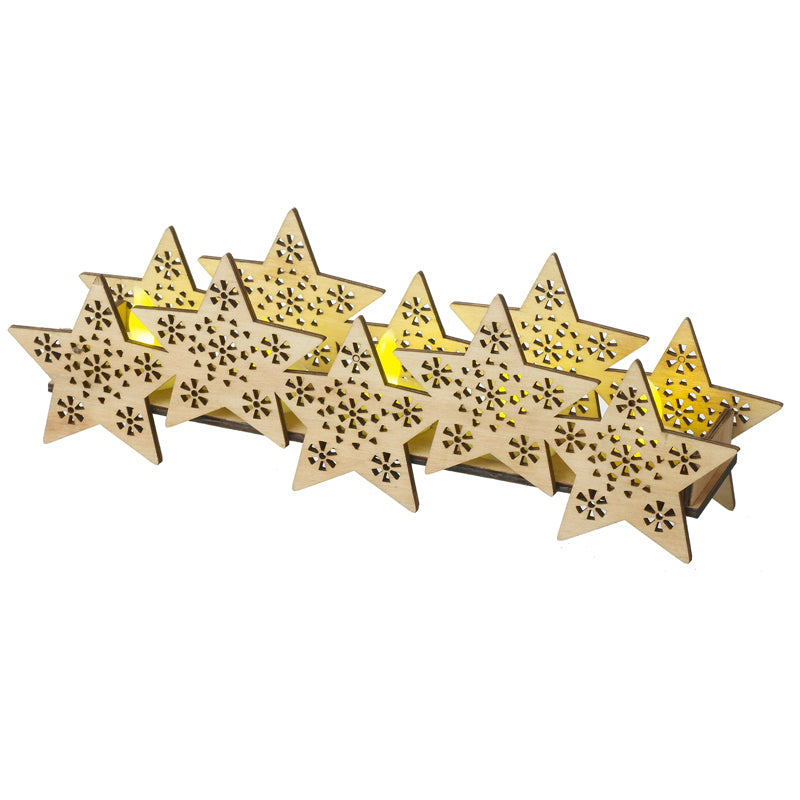 Wooden Stars With Led Candle Lights