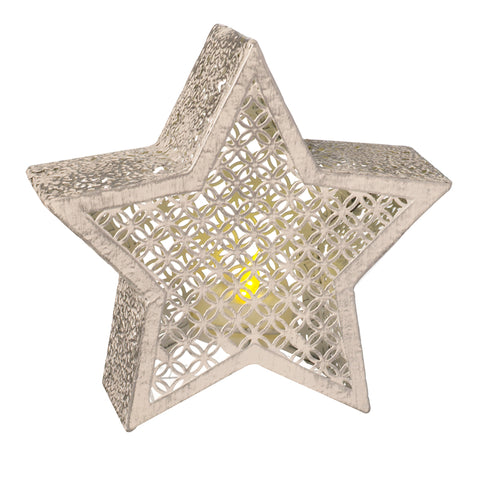 White Metal Cut Out Star With LED Candle