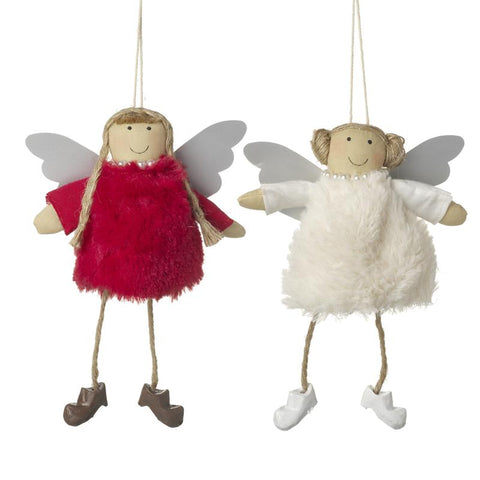 Red & Cream Hanging Angel Decoration