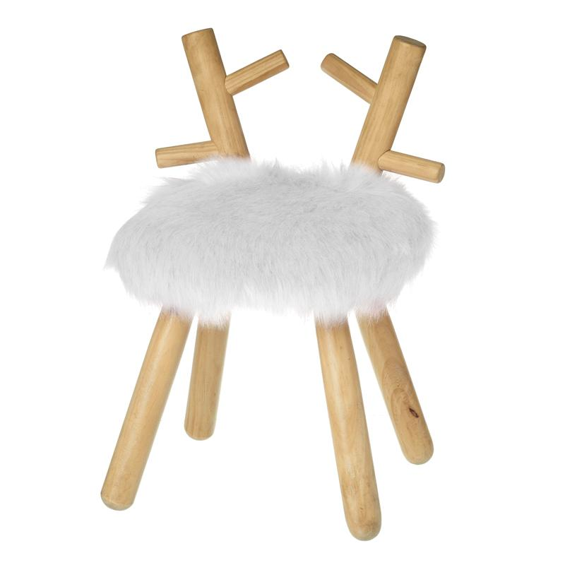 White Fluffy Wooden Deer Stool