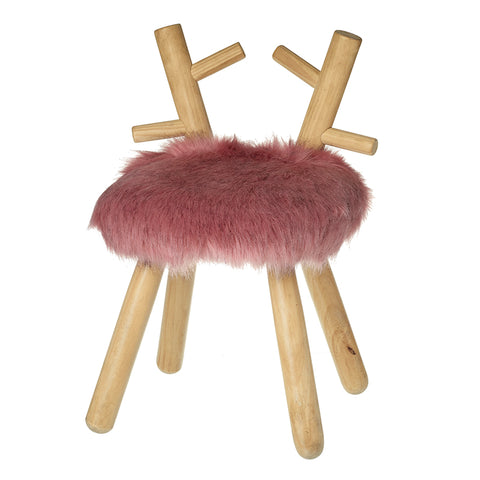 Pink Fluffy Wooden Deer Stool