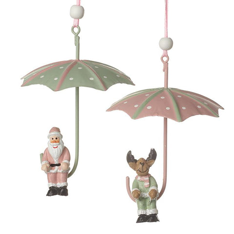 Metal Santa & Reindeer With Umbrellas Mix
