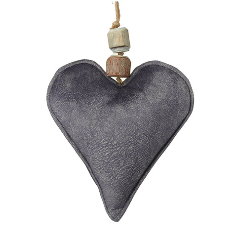 Grey Velvet Hanging Heart