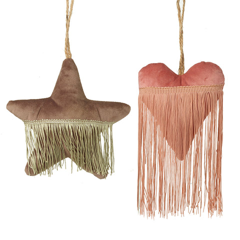 Velvet & Fringed Heart and Star