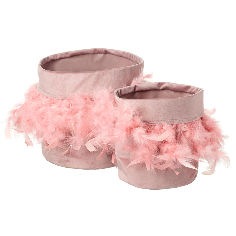 Pink Velvet & Feather Storage Bags Set