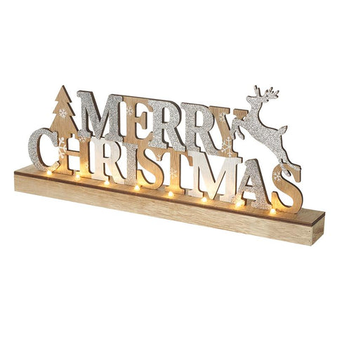 Merry Christmas Wooden Light Up Plaque