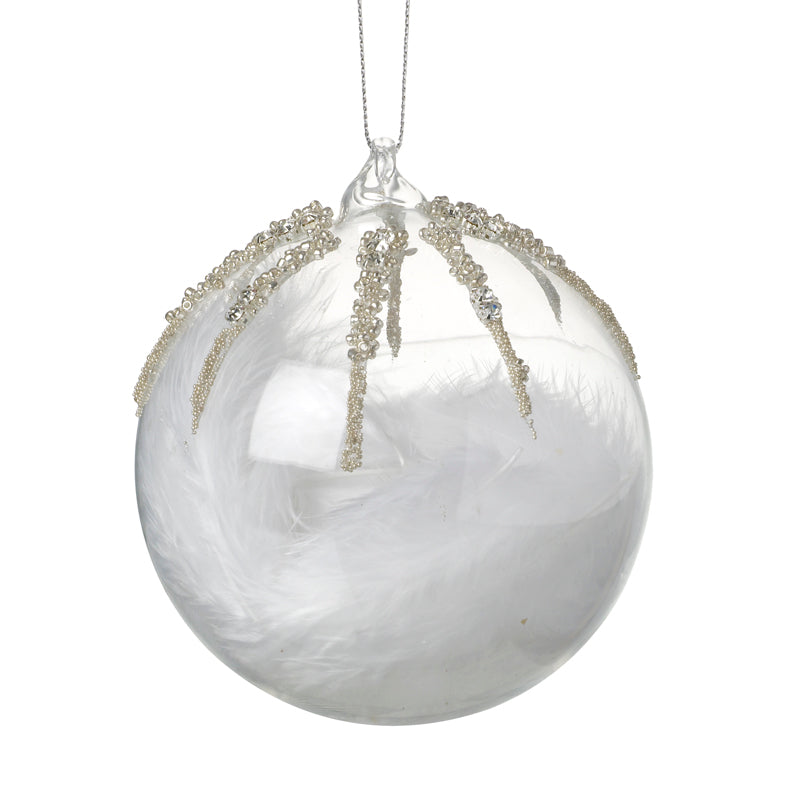 Feathers in Glass Bauble