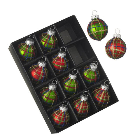 Glass Small Baubles Set Of 12