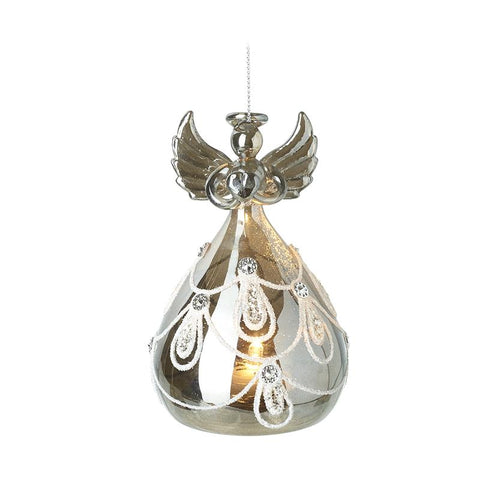 Light Up Glass Angel With Swirl Dress
