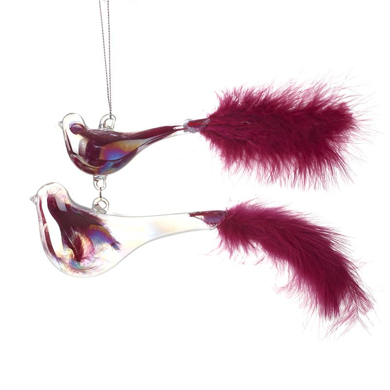Hanging Glass Birds W/Red Feather