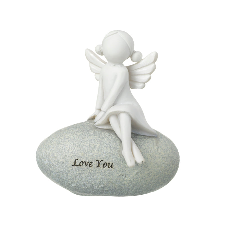 Angel 'Love You' Decoration on Stone