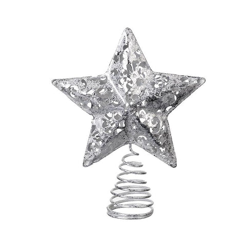 Metal Silver Star Tree Topper