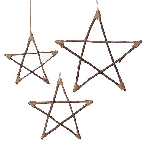 Set of 3 Rattan Hanging Stars