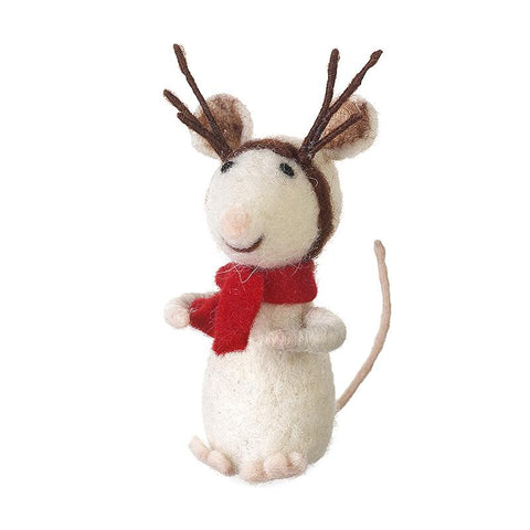 Sitting Wool Mouse Decoration