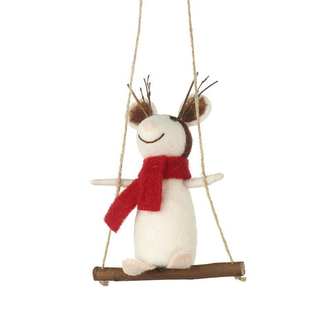 Wool Christmas Mouse On Swing