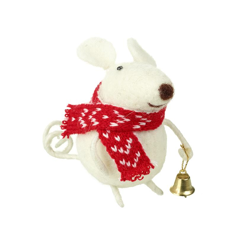 Wool Mouse In Red Scarf With Bell