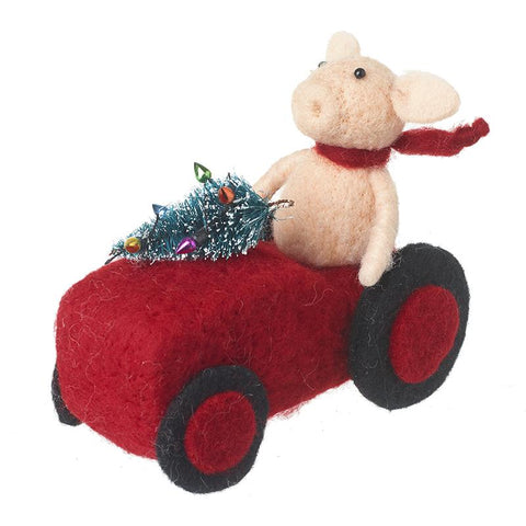 Woollen Pig In Tractor Decoration
