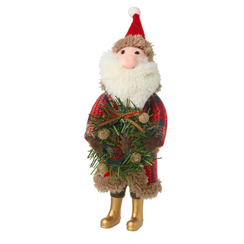 Wool Santa Holding Wreath