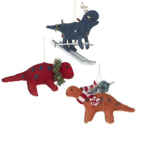 Mix Of 3 Woollen Dinosaur Tree Decor