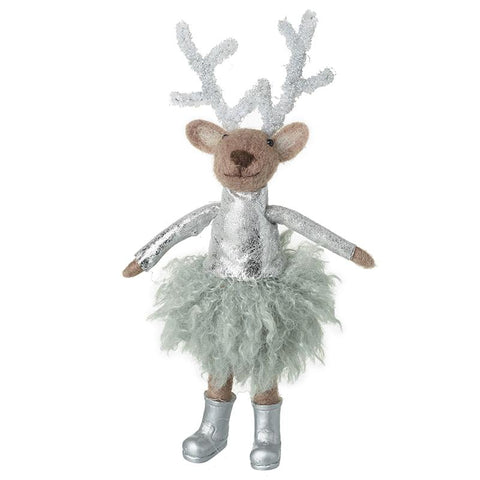 Woollen Reindeer In Silver Dress