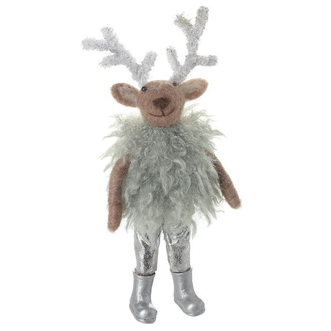 Woollen Deer In Fluffy Dress Decoration