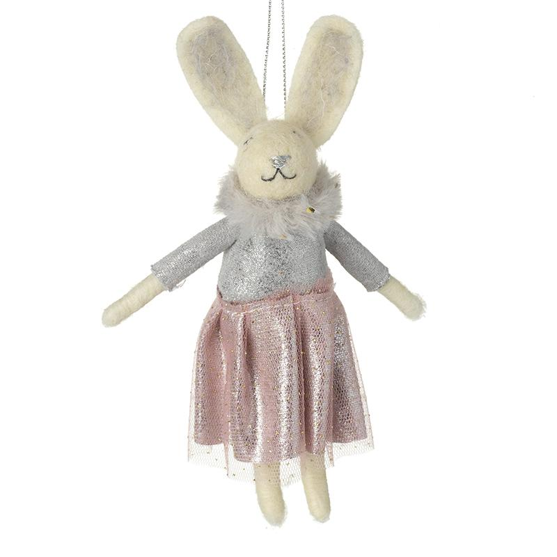 Woollen Rabbit In Dress Tree Decoration