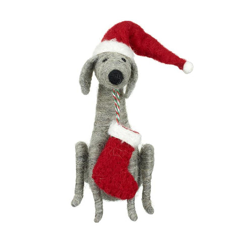 Felt Dog With Hat & Stocking
