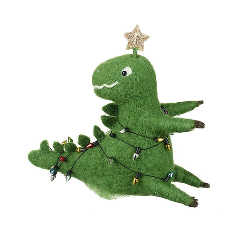 Felt Dinosaur With Gold Star & Lights