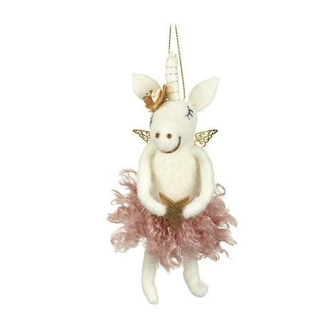 Deep Pink Fluffy Felt Unicorn With Star