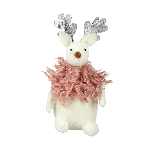 White Wool Reindeer with Pink Fluff and Silver Antlers