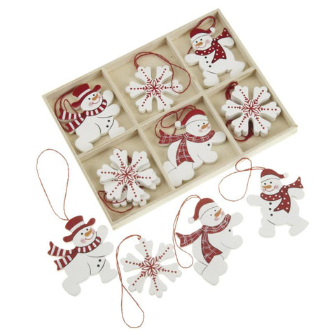 Set Of Hanging Snowflake & Snowman Decs